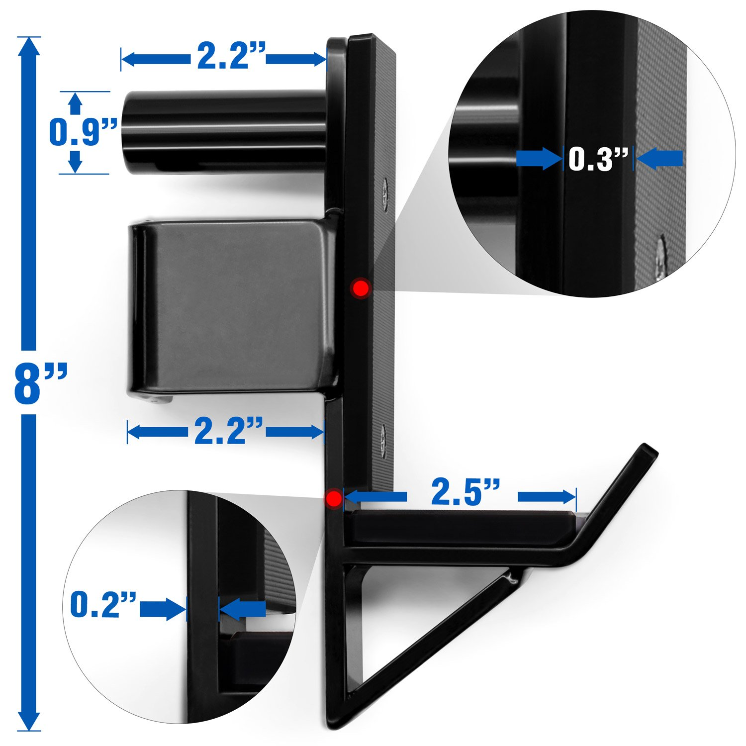 Yes4All Pair of J Hooks for Power Rack, Squat Rack - J Hook Weight Rack (2 inch Square Tube) by Yes4All (Image #3)
