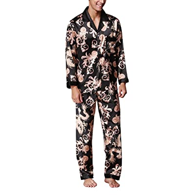 4PING Men's Silk Pajama Sets Pajama Shirt and Pant Satin Sleepwear Loungewear