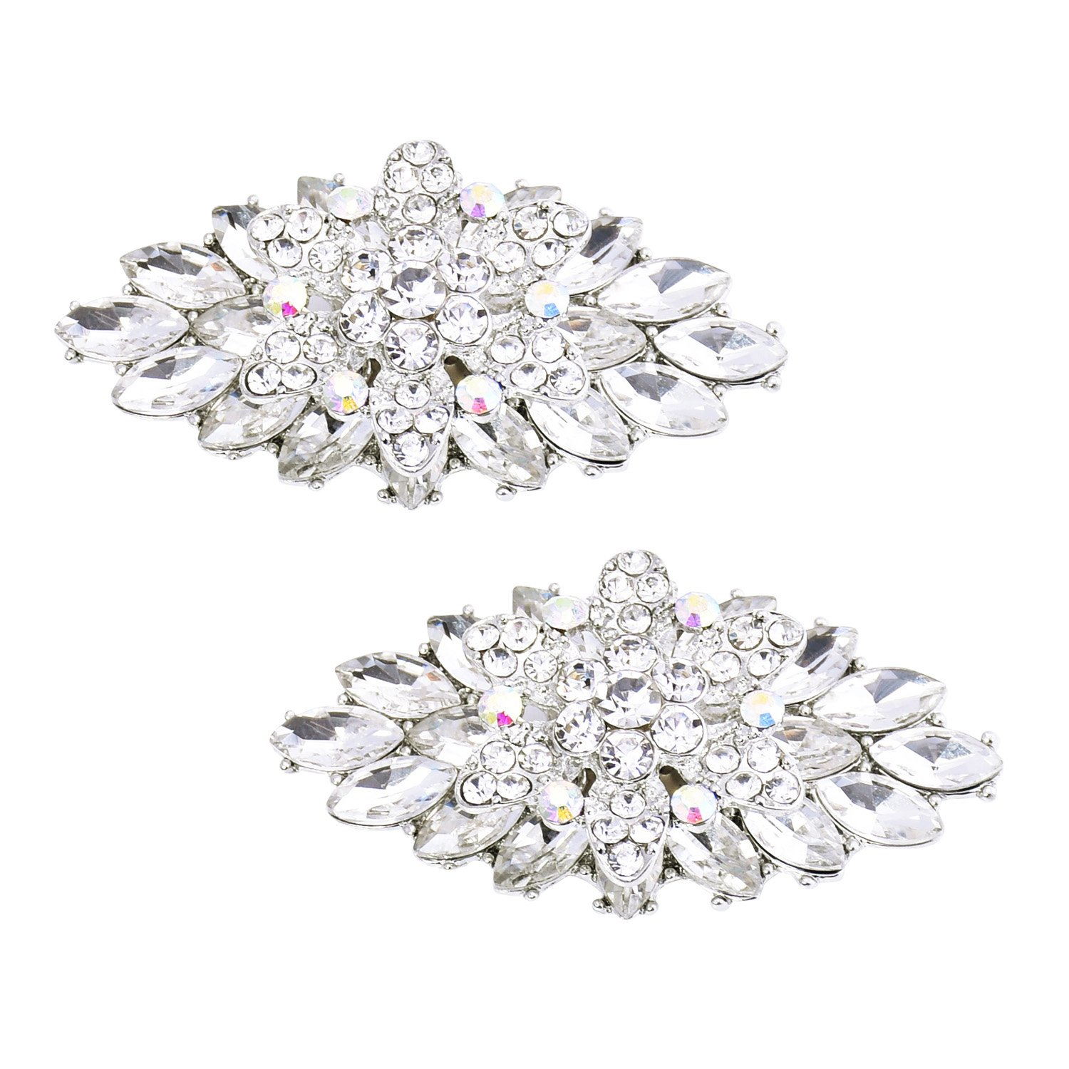 ElegantPark BD 2 Pcs Shoe Clips Double Layers Rhinestones Wedding Party Decoration Silver