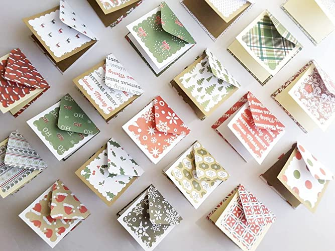 amazon com 3 x 3 mini christmas cards with matching patterns