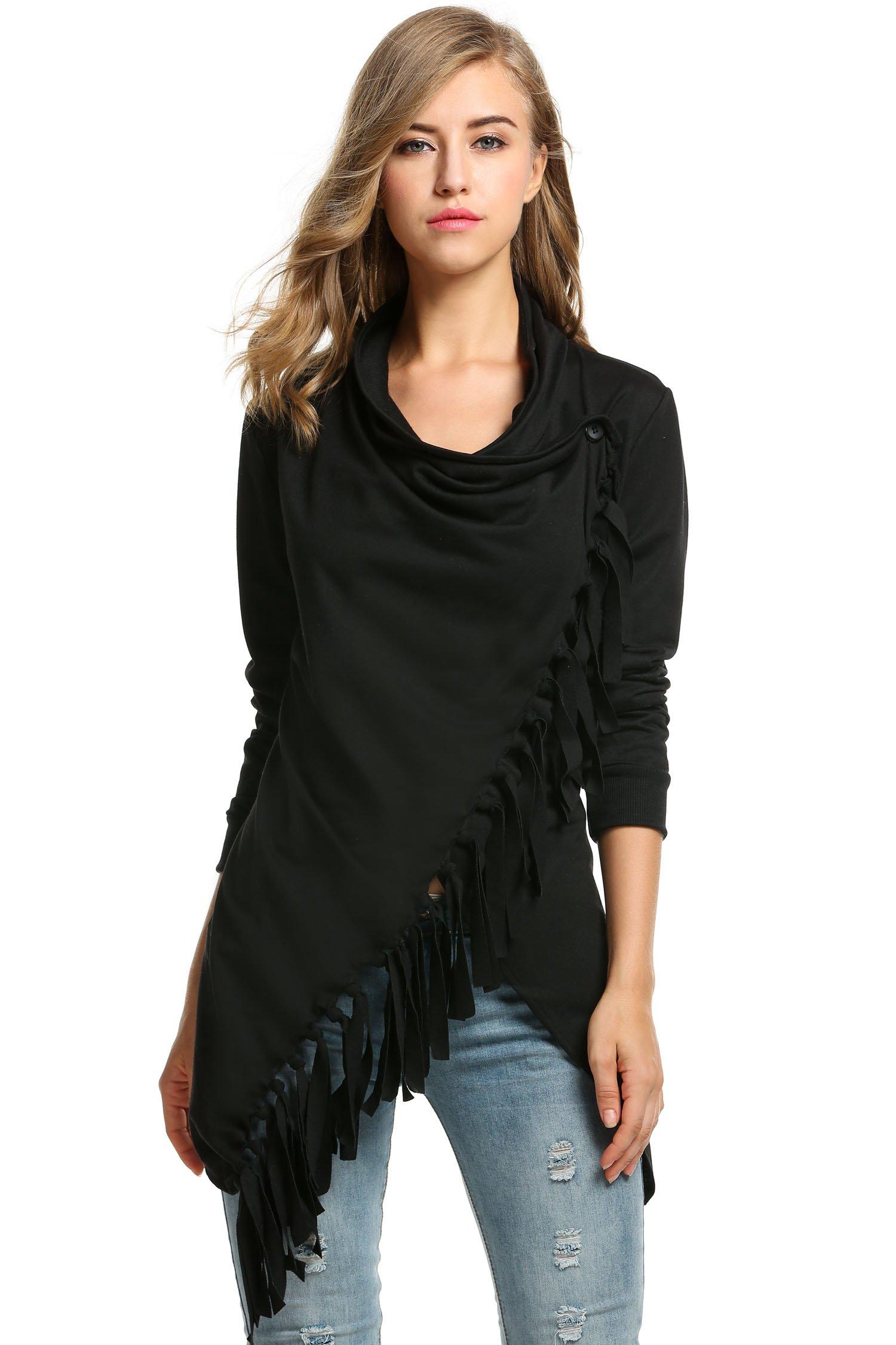 Zeagoo Fashion Women's Long Sleeve Tassels Hem Cardigan Blouses Poncho (Black, Medium)