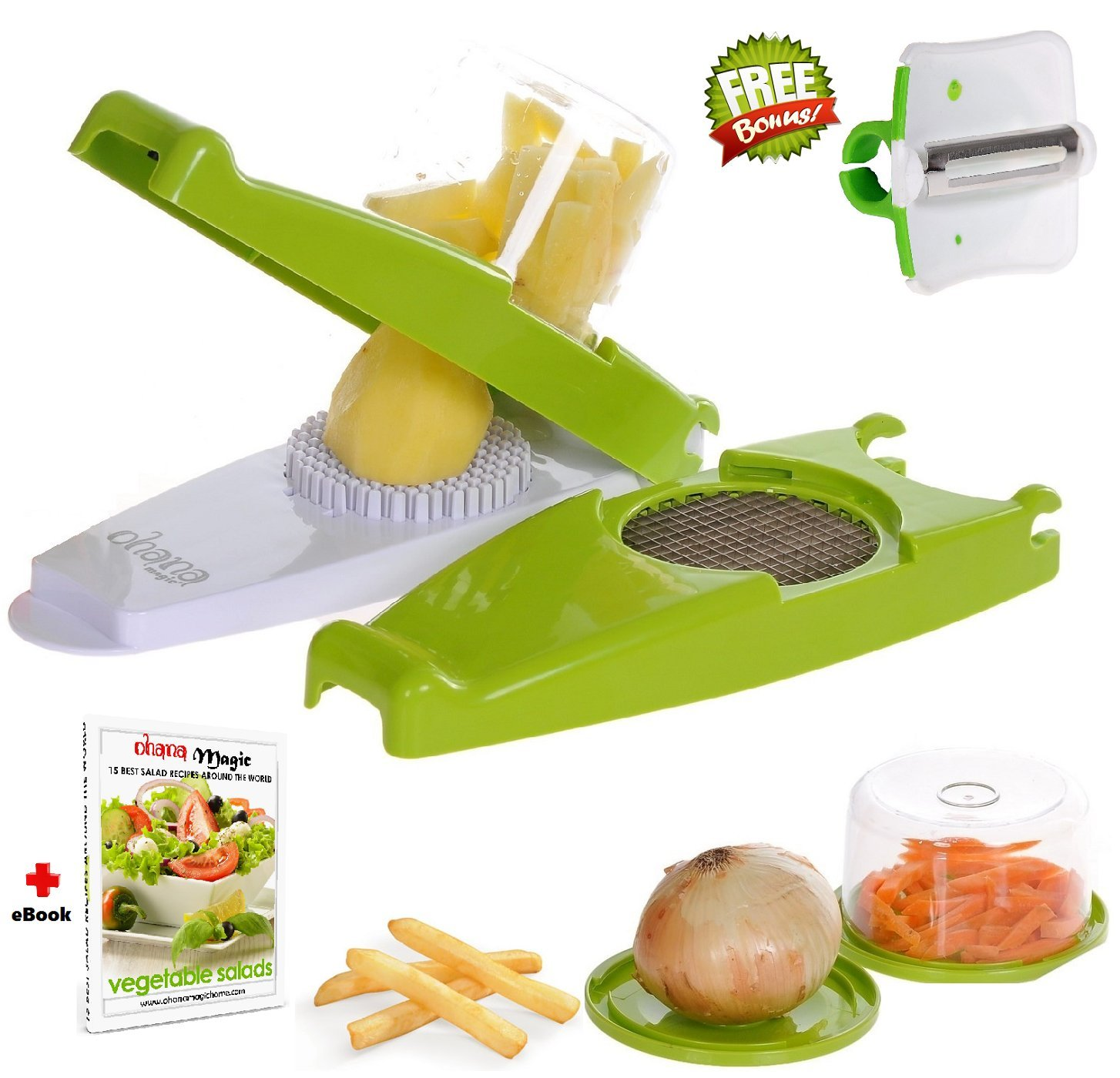 Ohana Magic French Fry Cutter Chopper for Vegetable Onion Food Fruit Dicer Potato Apple Slicer, 2 Storage Container, FREE Peeler & Recipe e-Book