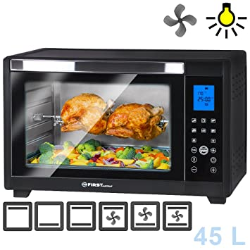 Horno eléctrico 45L digital | 2000 W | con display LED iluminación interior | bandeja para