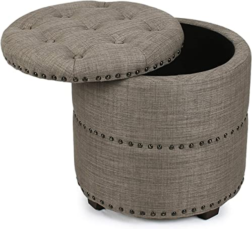 Decent Home 18 inch Round Fabric Storage Ottoman Upholstered with Lift Top Nailheads Footstool Button Tufted Granite Gray
