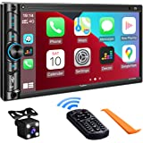 Double Din Car Stereo Compatible with Voice Control Apple Carplay - 7 Inch HD LCD Touchscreen Monitor, Bluetooth, Subwoofer,