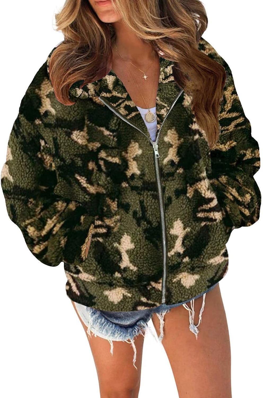 TECREW Women's Fleece Coat Lapel Fuzzy Faux Zip Up Short Pocket Jacket Outwear