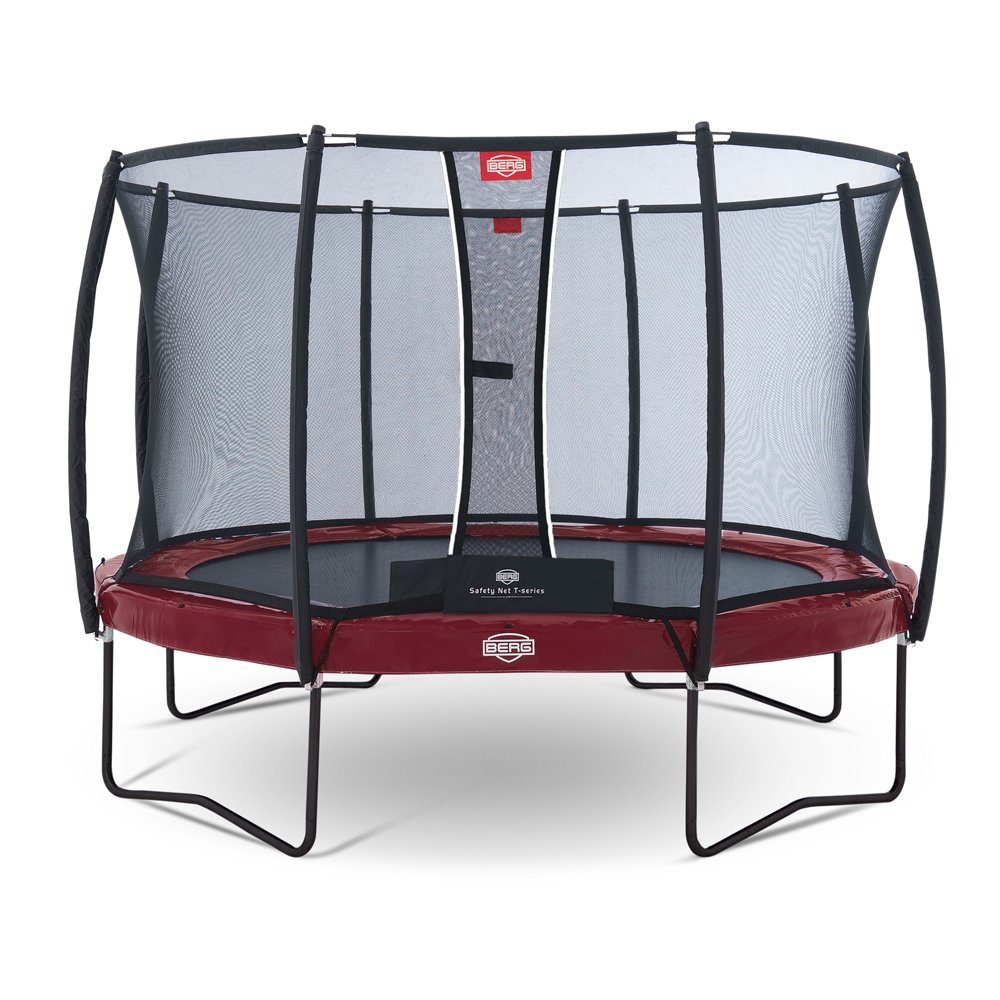 Berg Toys 37.14.81.00 Trampolin Elitemit Regular 430 mit Sicherheitsnetz T-Series, rot