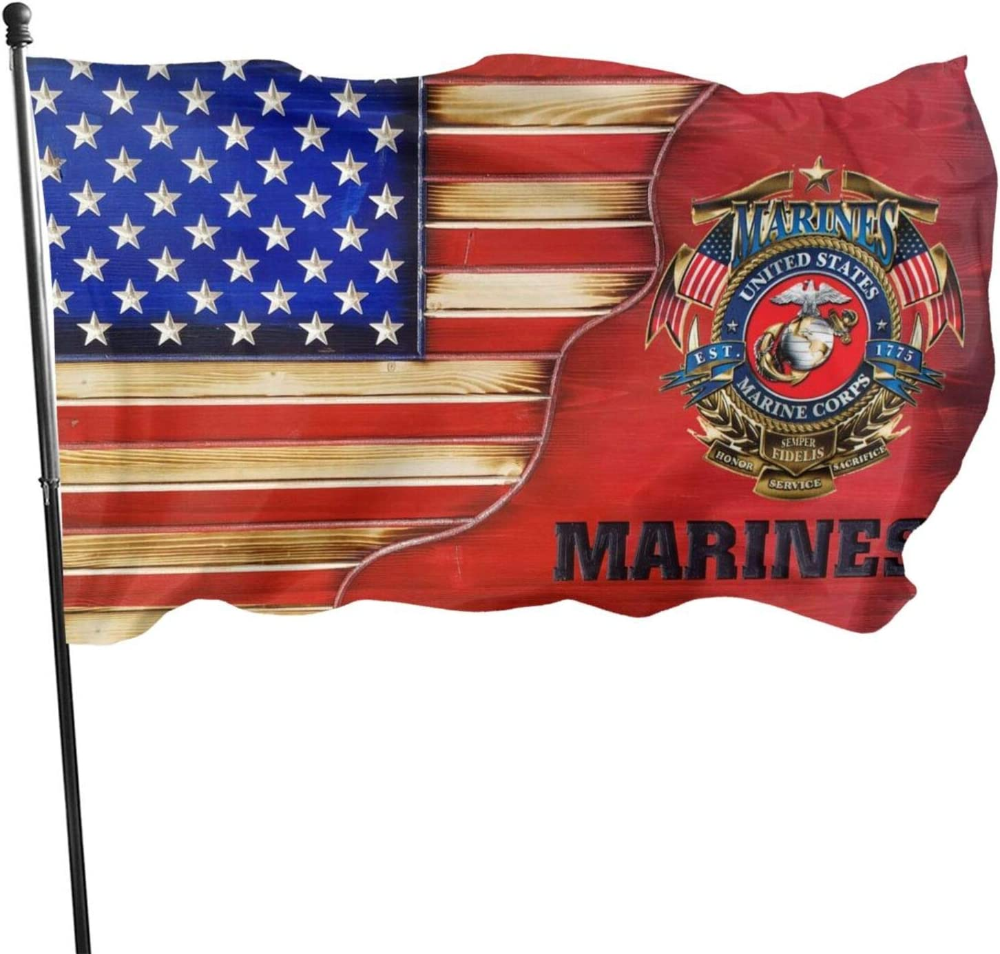 Us Marines Coprs Flag 3x5 Ft - Uv Resistant Single Side And Translucent - Us Marine Veteran Flags With Brass Grommets Military Flags Outdoor Decor Usmc Sign