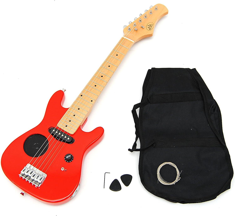 TS-Ideen - Guitarra eléctrica ¼ infantil con set de funda acolchada, correa, cuerdas y plectro, color rojo.