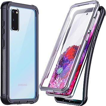 Temdan Coque pour Samsung Galaxy S20 Protection d'écran intégrée Ultra résistante aux chocs Support de charge sans fil pour Samsung Galaxy S20 5G 6,5