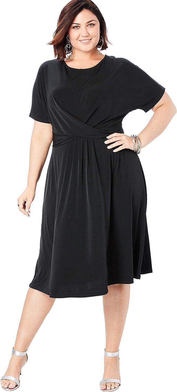 Roamans Women\'s Plus Size Twist Front Dress at Amazon ...