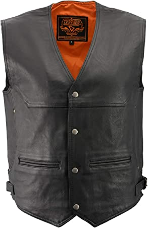 Milwaukee Mens Black Leather Straight Bottom Snap Vest w Side Lace Gun Pockets
