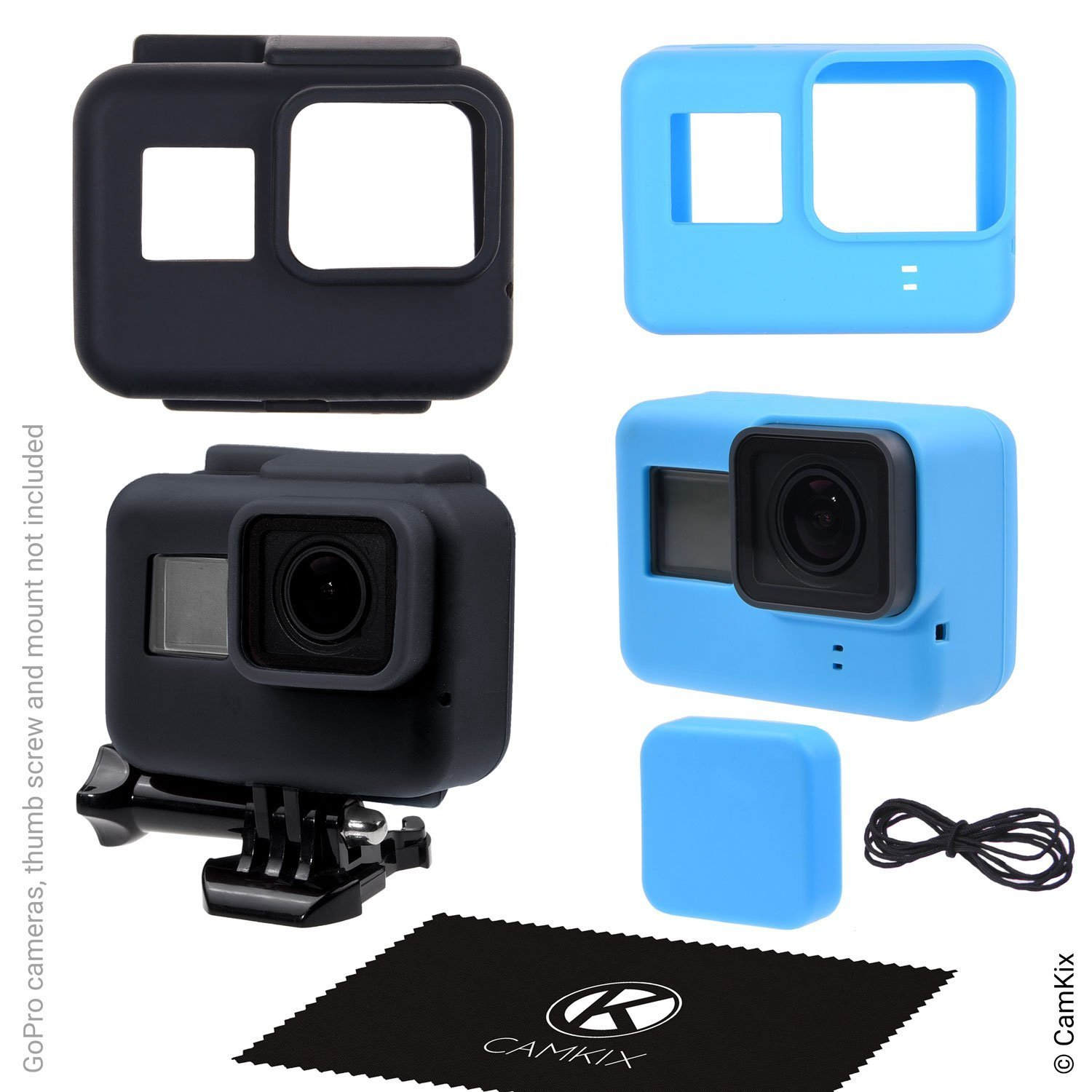 Silicone Sleeve Cases for Gopro Hero 5 Black - 2 Protective Covers - Black (Frame) / Blue (Camera) - Protection to Your GoPro Hero5 Camera and The Frame - Against Dust, Scratches and Light Shocks CamKix D0282-GP5-CBB