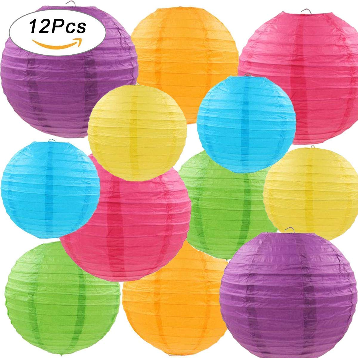 12 Pcs Colorful Paper Lanterns with Assorted Colors and Sizes Paper Lanterns Decorative,Chinese Paper Hanging Decorations Ball Lanterns Lamps for Home Decor, Parties, and Weddings Libershine