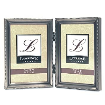 lawrence frames antique pewter hinged double 35x5 picture frame beaded edge design