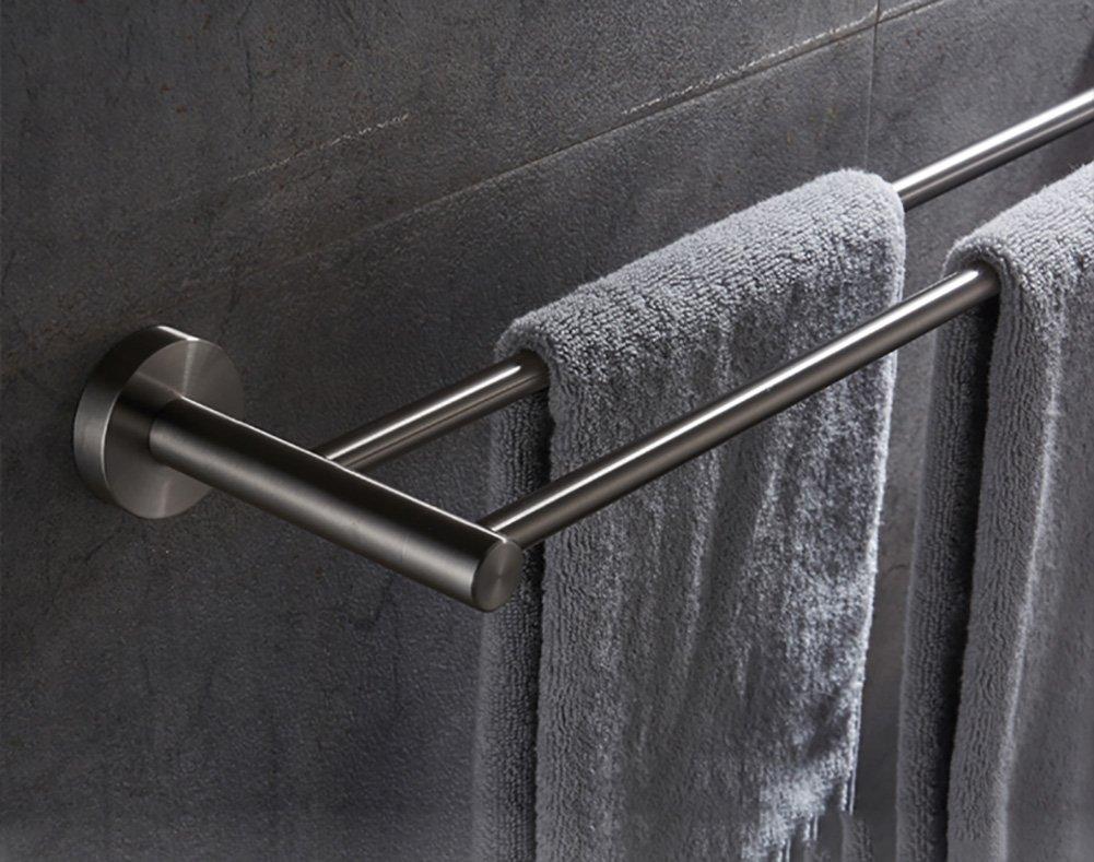 GYMMJ Handtuchständer handtuchstange Handtuch Bar Double Double Double Rod Edelstahl verdickte Bad Handtuch Bar Wand-Bad Regale handtuchhalter Wand (größe   90cm) d3d5d2