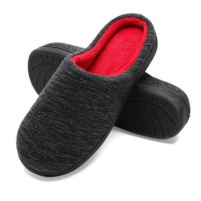 Amazon.com: Mens Slippers Two-Tone Memory Foam Fuzzy Fluffy Slippers Anti-slip Comfort Cozy Bedroom House Slippers for Men: Clothing