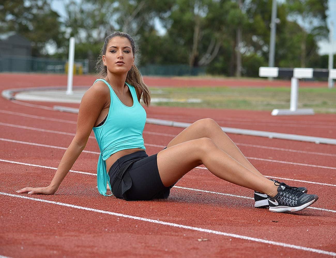 icyzone Damen R/ückenfrei Yoga Tank Tops /Ärmellos Workout Fitness Shirts