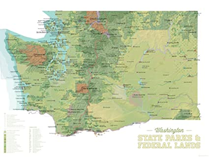 Washington State Parks & Federal Lands Map 18x24 Poster (Green & White)