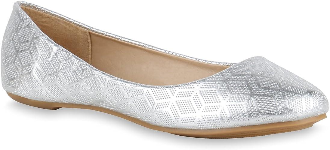 Damenschuhe Ballerinas Lack Slipper Leder-Optik Flache Flats Freizeit Schuhe NEU