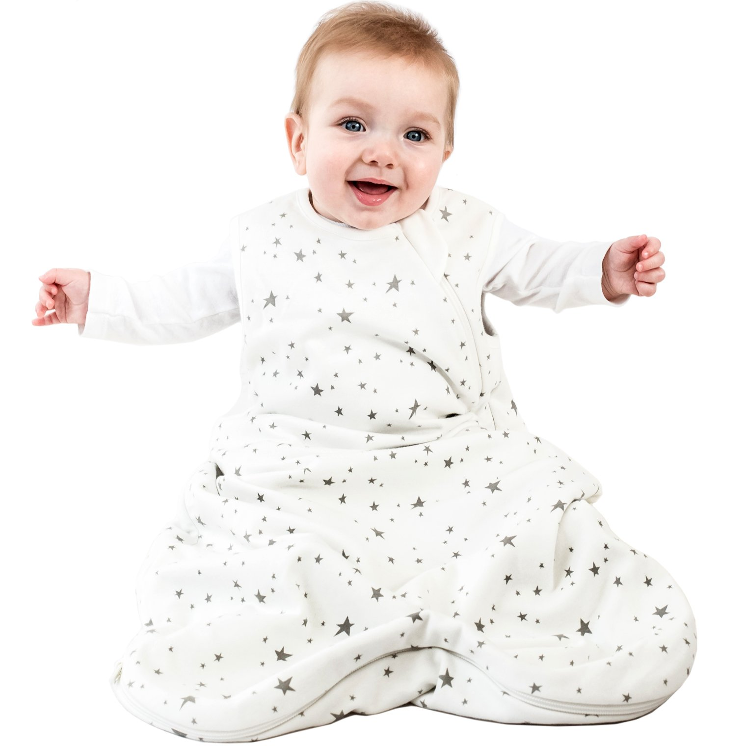 Woolino 4 Season Basic Baby Sleeping Bag, 6-18 Months, Australian Merino Wool, Stars
