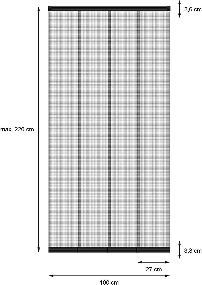 ECD Germany Cortina Mosquitera Deslizante 4 Partes para Puerta Ventana Negro Resistente a la Intemperie 100x220 cm Tela de Fibra de Vidrio Armazón de Aluminio Malla Protectora Hogar contra Insectos: Amazon.es: Hogar