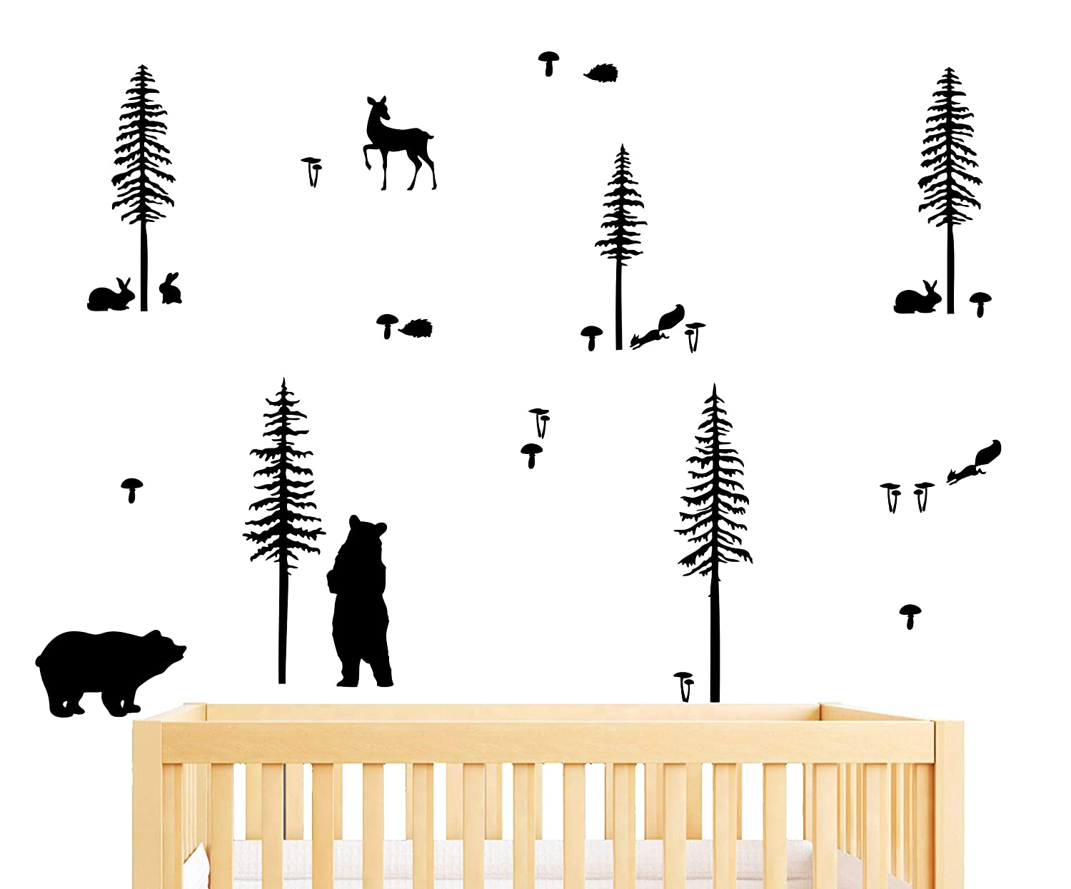 Woodland Animals Wall Sticker Pack, Woodland Decor for Kids Rooms or Baby Nursery, Bear and Tree Decal Sticker, Vinyl Wall Decals for Bedroom and Living-Room (A28) (Black) Yystore