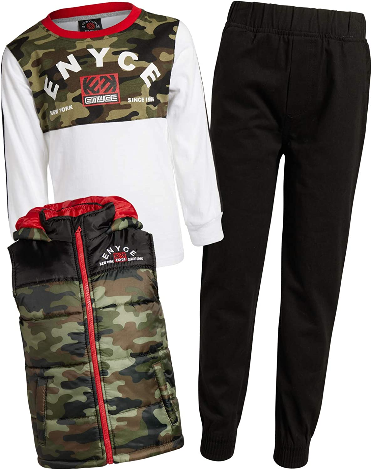 Enyce Boys 3-Piece Fashion Pant Set with Vest and Long Sleeve T-Shirt