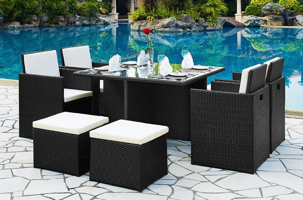 Rattan Garten Gartenmöbel-Set Cube Esstisch Stuhl Fußablagen Hohe Rückenlehne schwarz