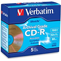 Verbatim CD-R 700MB 52X UltraLife Gold Archival Grade - Branded Surface & Hard Coat - 5pk Jewel Case