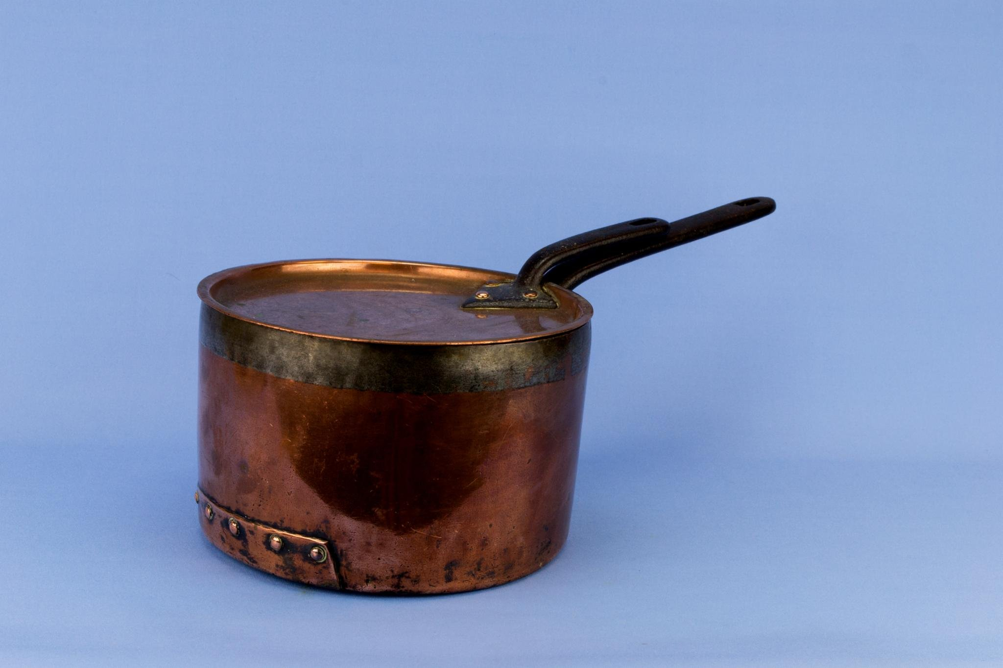 Medium Copper Pan and Lid Iron Handle Victorian Antique English 19th Century Riveted Shabby Chic
