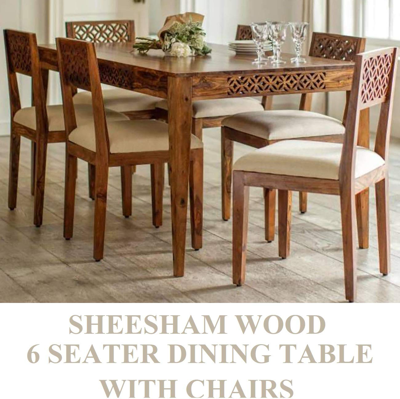 Rjkart Sheesham Wood Standard 6 Seater Dining Table With Chairs For Dining Room Premium Maharaja Collection Dining Table 6 Seater Set Amazon In Electronics