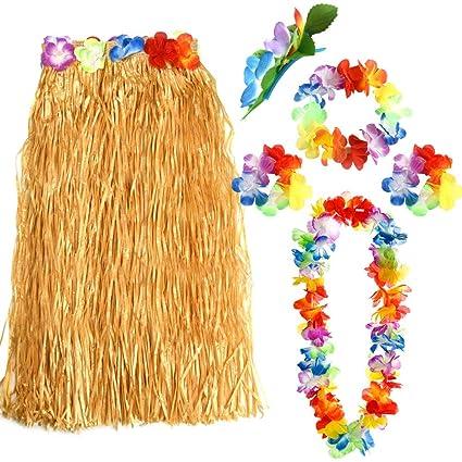 4a880581f2fa FEPITO Hawaiian Grass Hula Skirts Sets Include Flower Leis Necklace  Headband Bracelets Luau Skirts for Hawaii