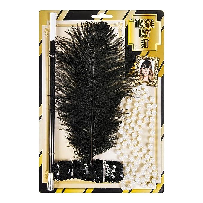 Henbrandt Adulto 1920 Flapper Mujer Conjunto Perlas, Diadema Cigarrillo Accesorios Holder: Amazon.es: Juguetes y juegos