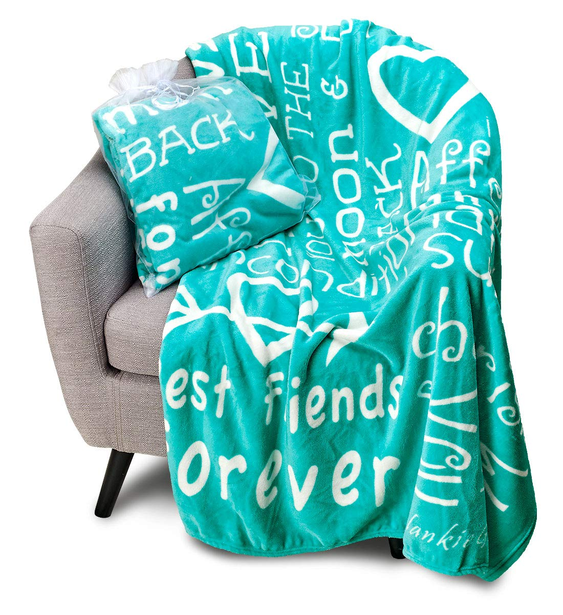 Blankiegram I Love You Throw Blanket The Perfect Caring Gift for Best Friends, Couples & Family (Teal) by BlankieGram.com