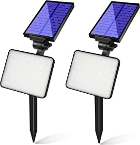 Bebrant 48 LEDs Solar Landscape Spotlights, Dusk-to-Dawn IP65 Waterproof Solar Powered Spot Lights, 6500K Daylight White, Outdoor Wall Lights for Garden Yard Driveway Porch Walkway, 2 Pack