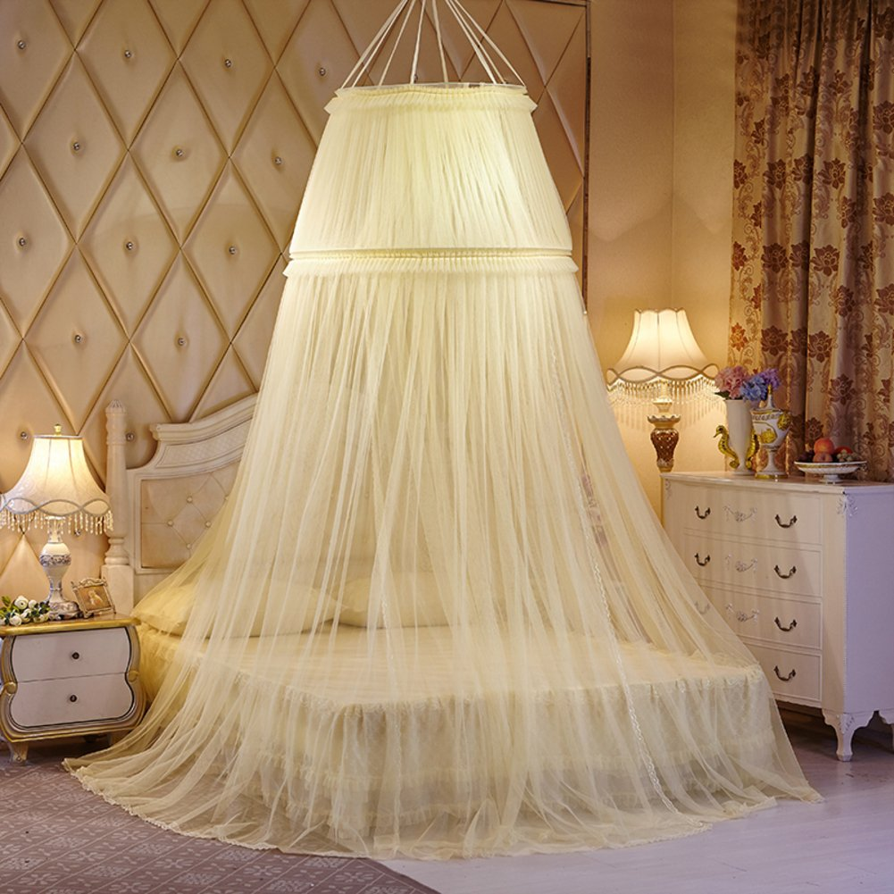 ODIUHEOHF Mosquito net Bed Canopy - lace Dome Netting Bedding-Beige 200x200cm(79x79inch)