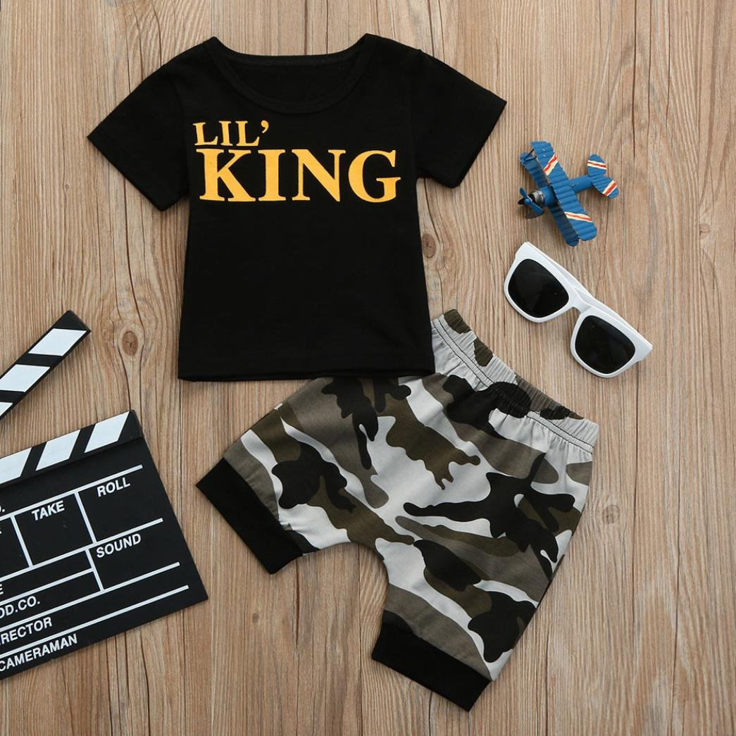 99a4b7973b724 Amazon.com: Lavany Baby Outfits 2PC Toddler Boy Letter Tops Camo Shorts  Clothes Set for 0-4 Years: Clothing