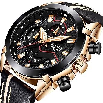 6decfe90e0a0 LIGE Herren Uhren Fashion Sport Chronograph Schwarz Gold Military  Wasserdicht Analoge Quarzuhr mit Leder 9869A