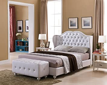 Amazon.com: Kings Brand Furniture White Tufted Design Faux Leather ...