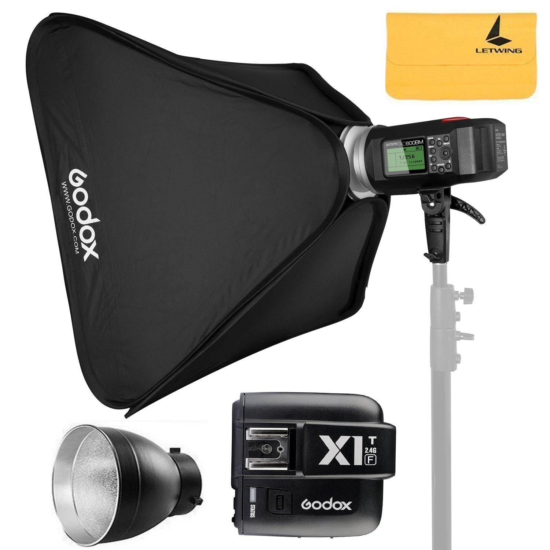 GODOX AD600BM AD Sync 1 / 8000s 2.4G Wireless Flash Light Speedlite+GODOX X1T-F for Fuji DSLR Cameras,AD-R6,80cmX80cm /32''X32''Softbox by Godox