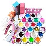 Coscelia Uña Arte Sets con 24 Brillo Puro Gel UV + Pinceles
