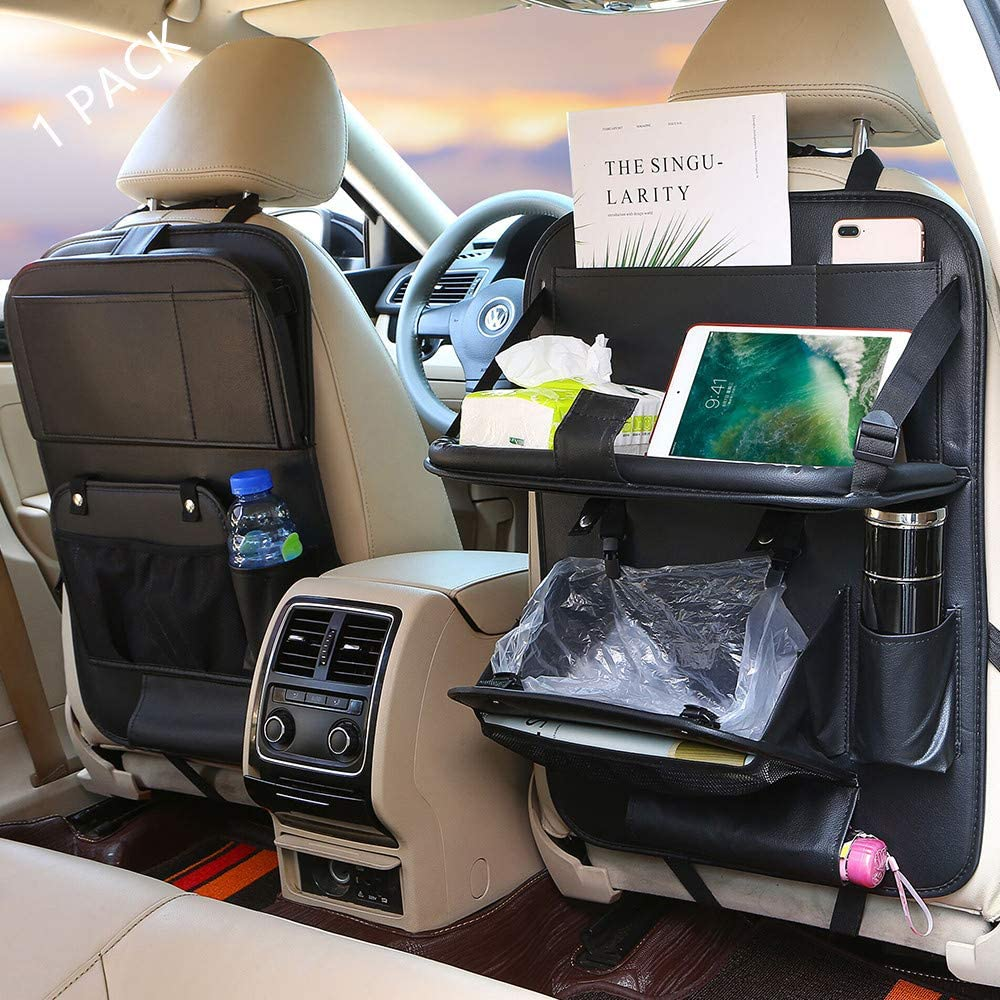 Car Backseat Organizer Car Trash Can Backseat Car Organizer, Protector Kick Mats Table Tray Foldable Dining Table with Tablet Holder Travel Accessories Organizer 1 Pack