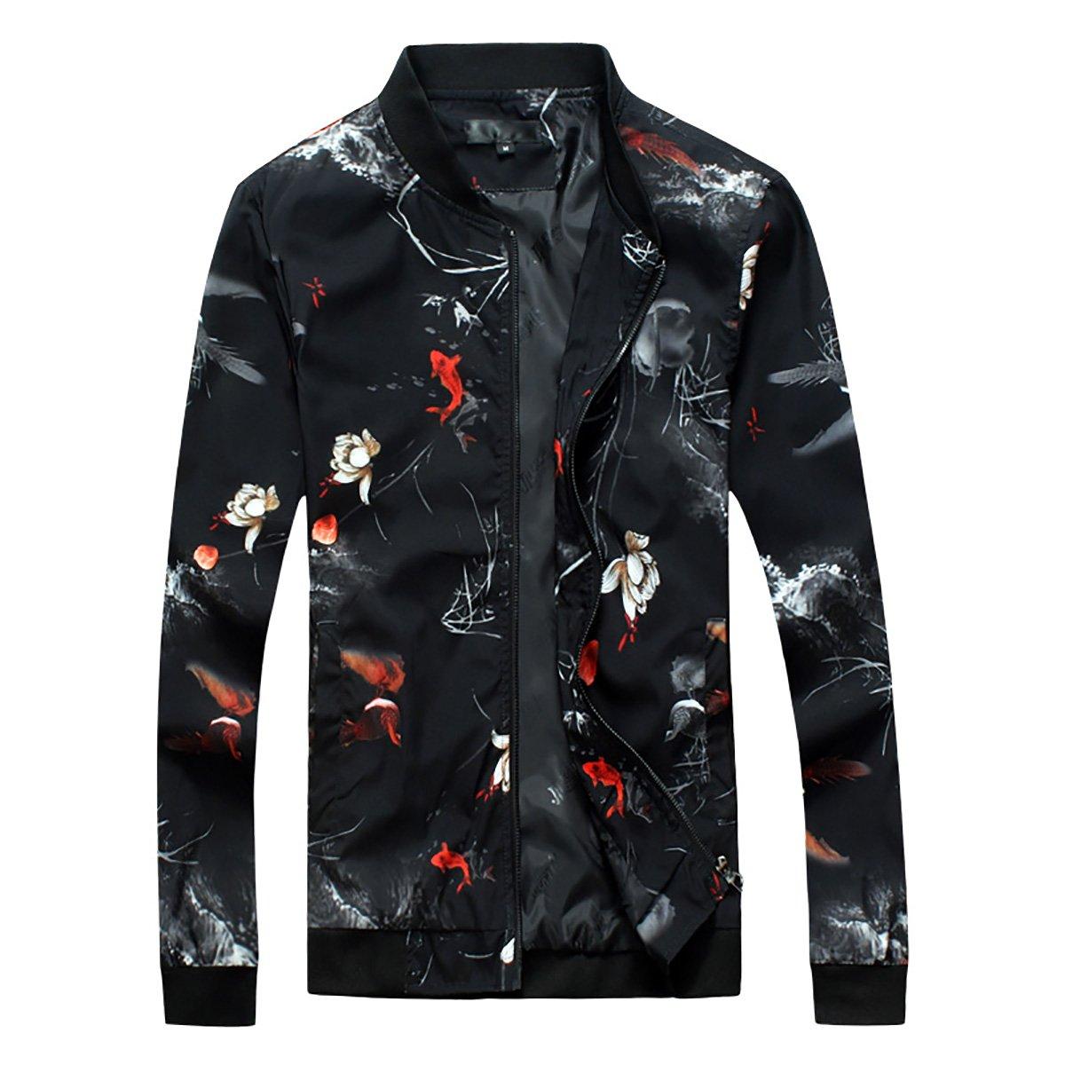 Cloudstyle Mens Casual Slim Fit Lightweight Floral Jacket Sportswear Bomber Jacket 04Jacket