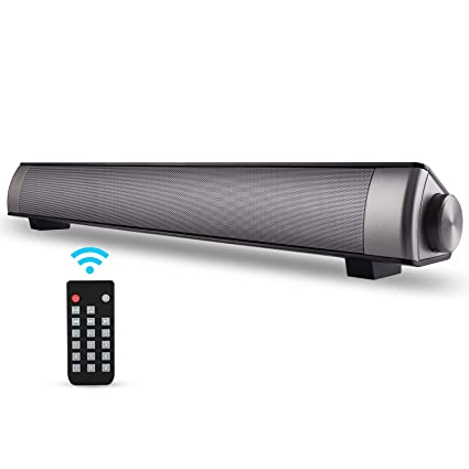 [New 2019 Upgraded] ASIYUN 2 X 5W Mini Bluetooth Sound Bar, Wired and  Wireless Home Theater Audio for Cell Phone/Tablet/Projector and Support TV  with