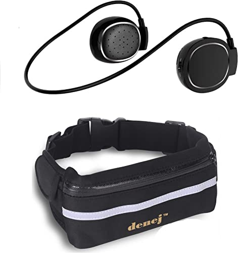 Denej Fanny Pack Phone Holder with Mini On Ear Bluetooth Headphones- Swipe Pad Behind the Head Wireless Headset and Waist Pack – Neck Bluetooth Headphone Set with Pouch Gift Pack Gold