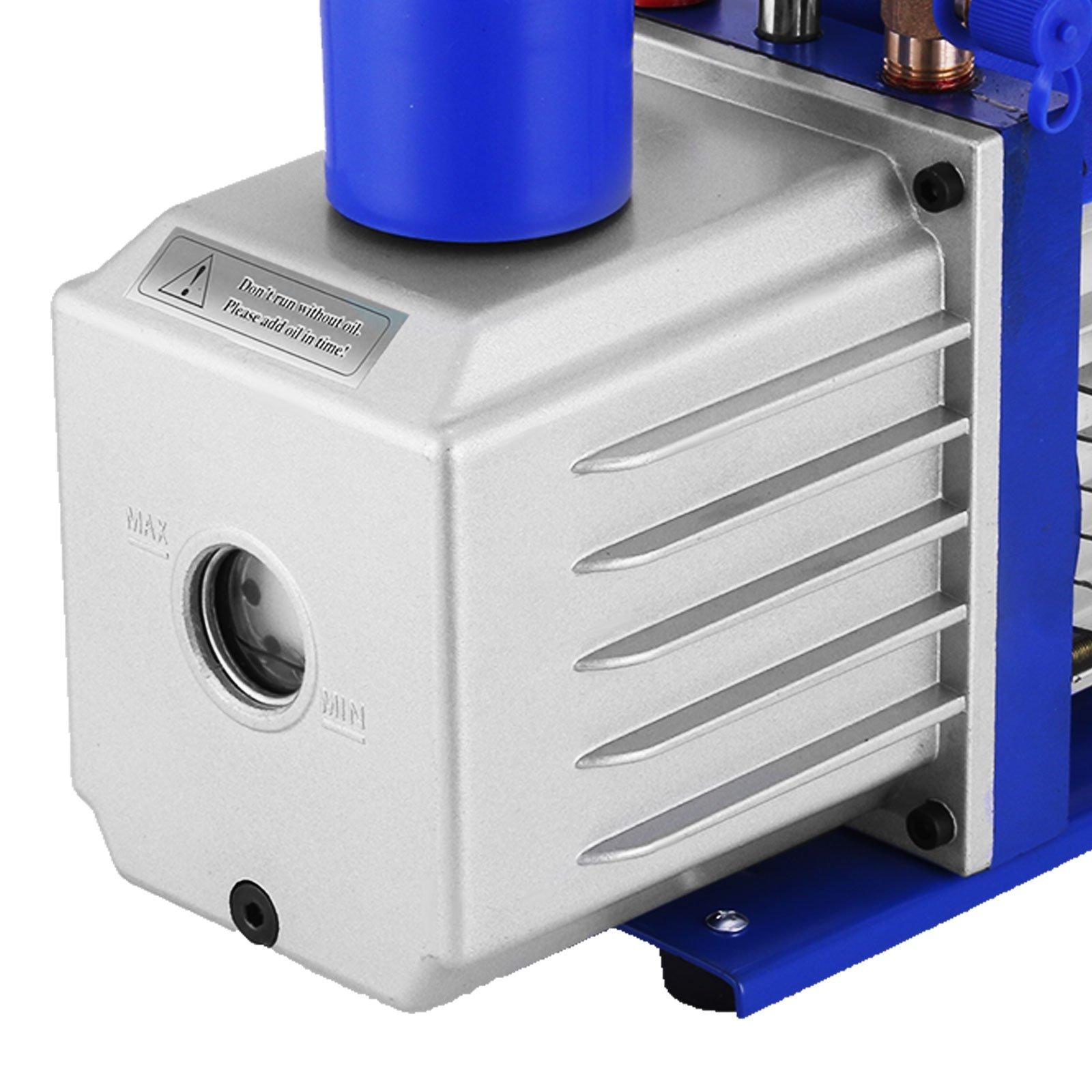 VEVOR Vacuum Pump 9CFM 1HP Two Stage HVAC Rotary Vane Vacuum Pump Wine Degassing Milking Medical Food Processing Air Conditioning Auto AC Refrigerant Vacuum Pump (2-Stage, 9CFM) by VEVOR (Image #6)