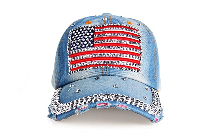 Amazon.com  Unisex Bling USA Rhinestone Studded Bedazzled Denim Baseball  Style Fashion Cap Hat  Clothing df7a79ecd08