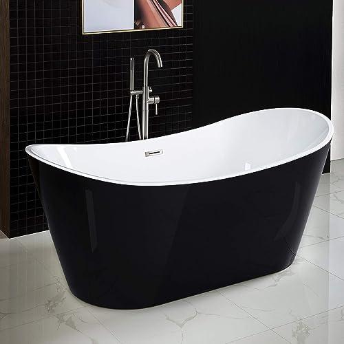 WOODBRIDGE BTA1816 59″ Acrylic Freestanding Bathtub Contemporary Soaking Tub