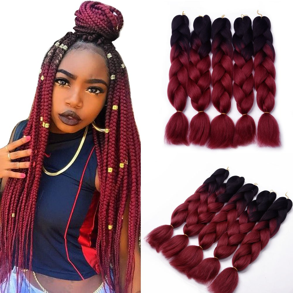 amazoncom ombre jumbo braid hair extensions 24quot 3pcs